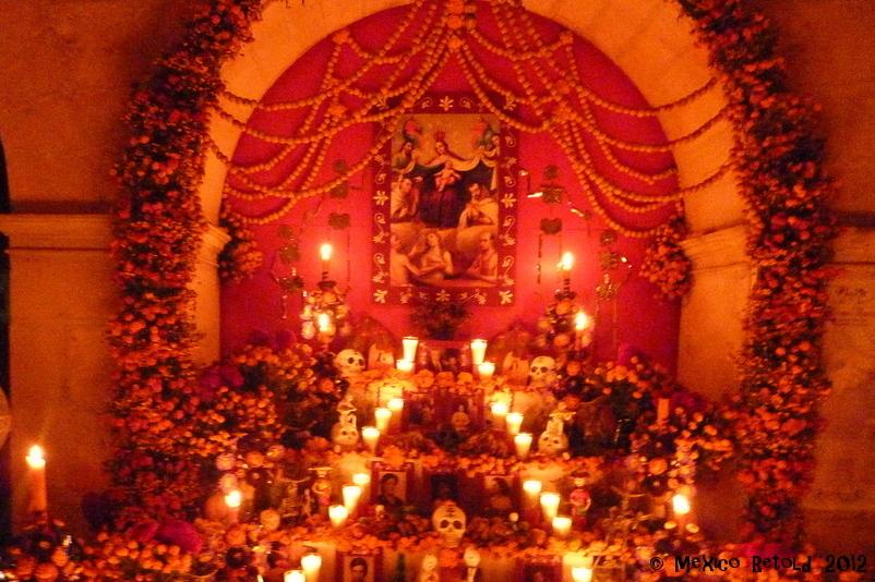 Altar in cemetery in Oaxaca