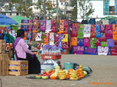 The market in the plaza outside of the church