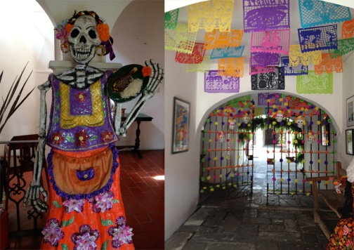 Colourful papel picado and a skelton waitress welcome you to this restaurant