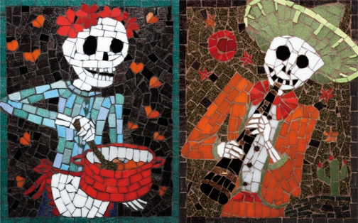 Day of the Dead inspired mosaics of my Nan and Grandad enjoying their pastimes