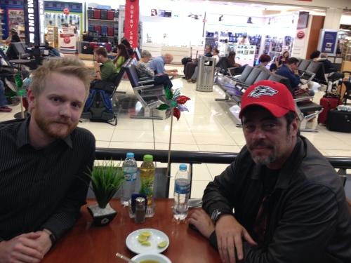 Enjoying some limes with Benicio del Toro at Mexico City airport
